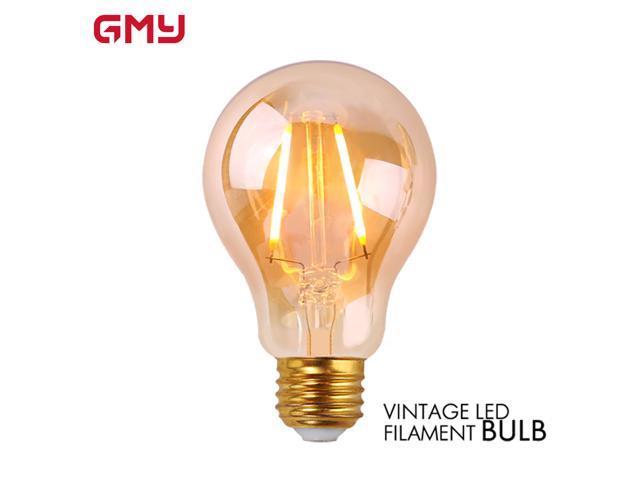 Amber LED Light Bulb Dimmable - Edison LED Filament Light Bulb A19 2.5W LED Victorian Bulb - 120V 2200K Amber Glass Warm White E26 (4 PACK)