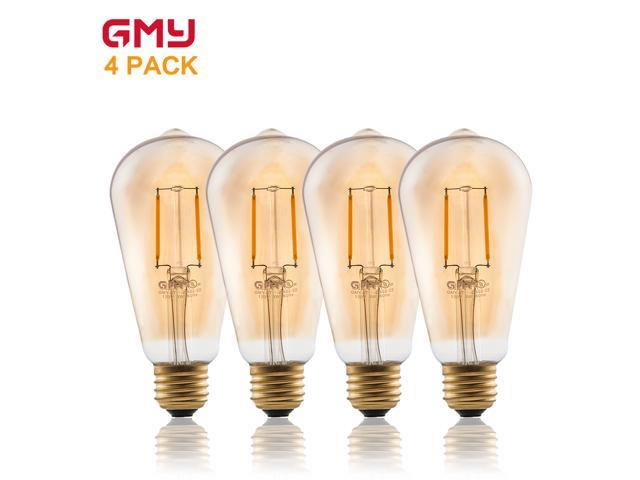 Vintage Edison LED Bulb 2W ST19 Dimmable LED Light Bulb AC120V Amber Glass Decorative LED Filament Bulb 2200K Warm White (4 PACK)