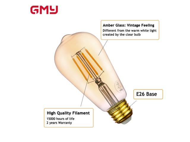 Vintage LED Edison Bulb 4.5W -  Dimmable ST19 Amber LED Light Bulb - 40W Incandescent Equivalent - E26 2200K Warm White from GMY Lighting (4 PACK)