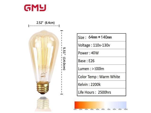Dimmable Vintage  Edison Light Bulb 40W - ST64 Incandescent Antique Light Bulb - E26 2200K Warm White Amber Glass (4 PACK)