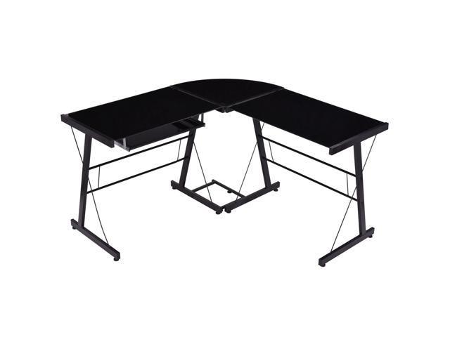 Goplus l shape computer desk pc laptop table glass top for Best workstation table