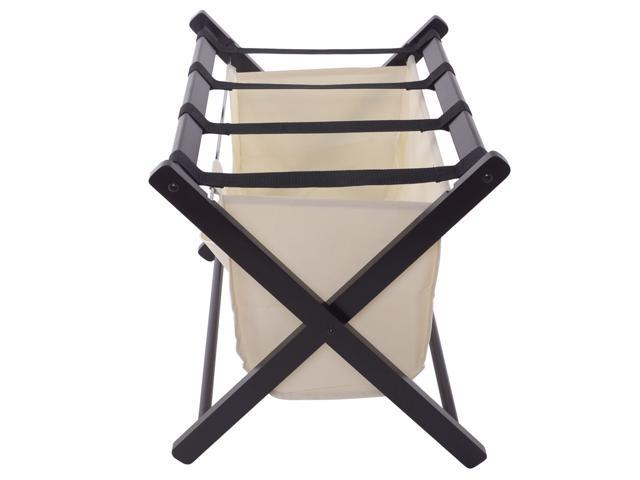 Wood Folding Luggage Rack Bedroom Suitcase Stand Hamper Laundry Cloth Bag