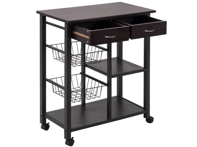 Rolling Kitchen Trolley Cart Storage Island Utility Dining w/Drawer Basket Shelf