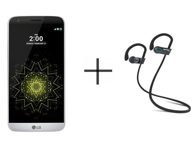 LG G5 RS988 Unlocked GSM Smartphone, Silver + SHARKK Flex 2o Wireless Bluetooth WaterProof Headphones with Mic (Value Bundle)
