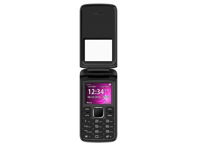 BLU Zoey Flex Z131 Unlocked GSM Dual-SIM Flip Phone w/ Quick-Glance Window - Black