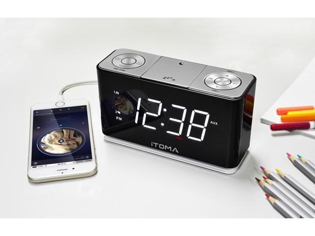 itoma cks507 a12 alarm clock radio with digital fm radio dual alarm snooze. Black Bedroom Furniture Sets. Home Design Ideas