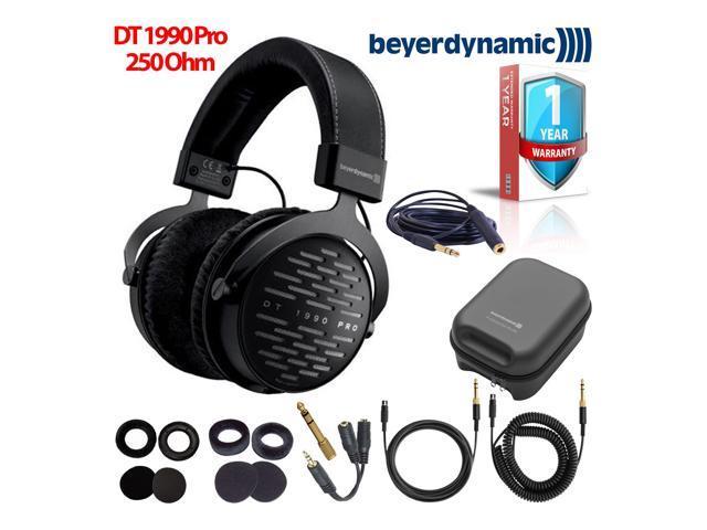 Beyerdynamic DT 1990 Pro 250 Ohm Open-Back Studio Reference Headphones Bundle with Hard Case Headphone Splitter and Extended Warranty