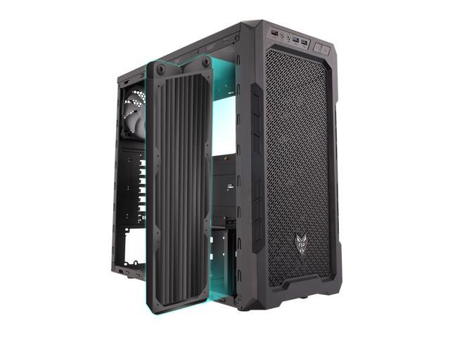 FSP CMT210 Translucent Panel ATX Mid Tower Window Gaming Computer Case Cases (Black)