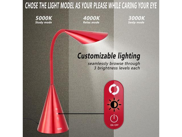 GUANYA LA-K208 LED Desk Lamp,Eye-caring Table Light with Touch Control-Red