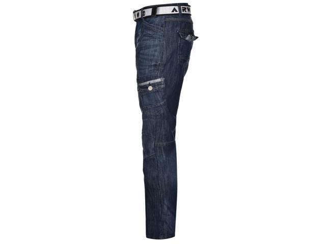 22ffdc1c ... Airwalk Mens Belted Cargo Jeans Straight Fit Belt 6 Pockets Denim Trousers  Pants ...