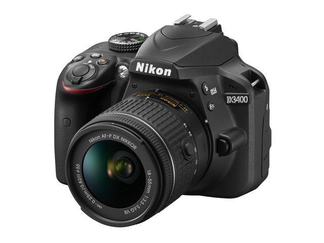 Refurbished: Nikon D3400 24.2MP DSLR Camera with AF-P 18-55 VR and 70-300m Lenses