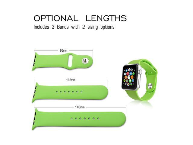 iXCC [3 PC] Soft Silicone Replacement Sport Band with Pin & Tuck Closure & Secure Lugs for  Apple Watch Band 42mm(Green)