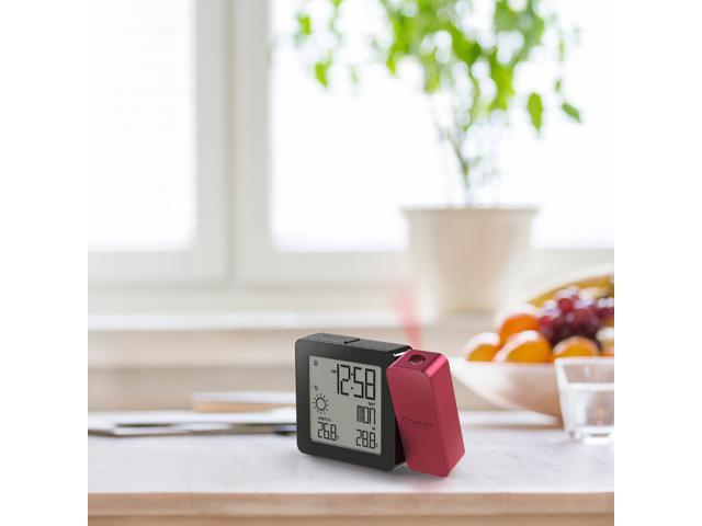 Oregon Scientific BAR368PA/CLMBY PROJI Projection Clock with In/Outdoor Temperature and Weather- Burgundy