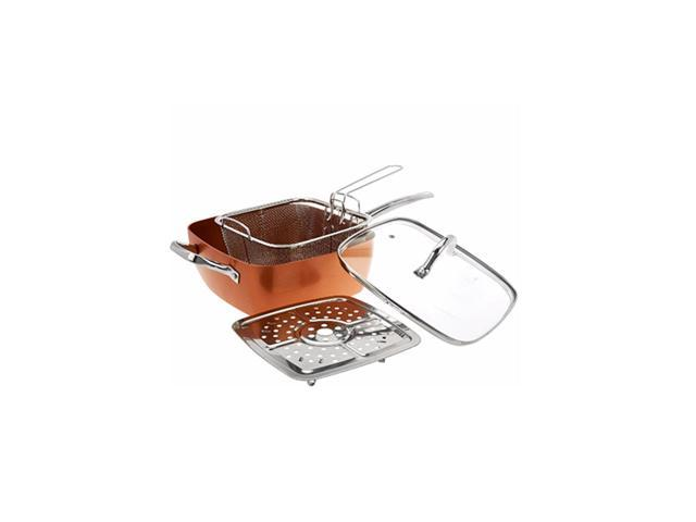 "Copper Square Casserole Pan 5 Pc Set 9.5"" As Seen on TV Induction Non Stick"