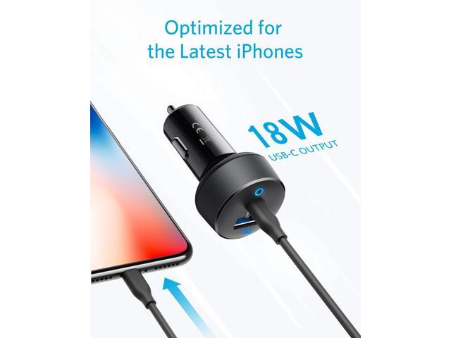 Anker Car Charger USB C, 30W 2-Port Compact Type C Car Charger with 18W Power Delivery and 12W PowerIQ, PowerDrive PD 2 with LED for iPad Pro (2018), iPhone XS/Max/XR/X/8/7, Pixel 3/2/XL and More