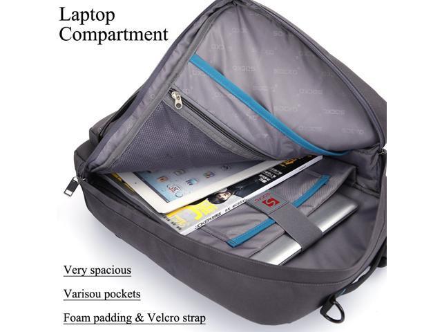 SOCKO 17 Inch Laptop Backpack with Side Handle and Shoulder Strap,Travel Bag Hiking Knapsack Rucksack College Student Shoulder Back Pack for Up to 17 Inches Laptop Notebook Computer, Gray+Blue