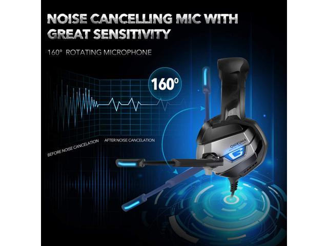 LUOM Gaming Headset with Noise-Cancelling Mic&7.1 Surround Sound, Advanced Lightweight Headphones, LED Light, Mic/Volume Control for PS4, Xbox One, PC, Switch, Laptop