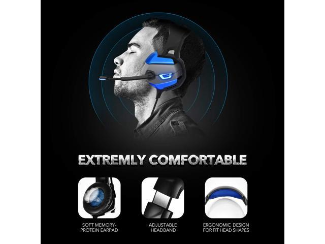 LUOM Gaming Headset with Noise-Cancelling Mic&7.1 Surround Sound, Advanced Lightweight Headphones, LED Light, Mic/Volume Control for PS4, Xbox One, PC, Switch, Laptop-  (Black+Blue)