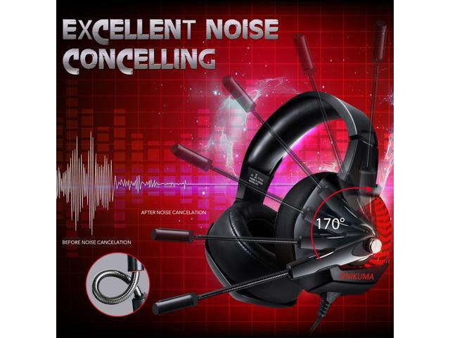 ONIKUMA II Gaming Headset for PS4, Xbox One, PC, Nintendo Switch, Over-Ear Noise Cancelling Headphones with Soft Memory Earmuffs, 7.1 Surround Sound, Volume/Mic Control, LED Light for Laptop Mac