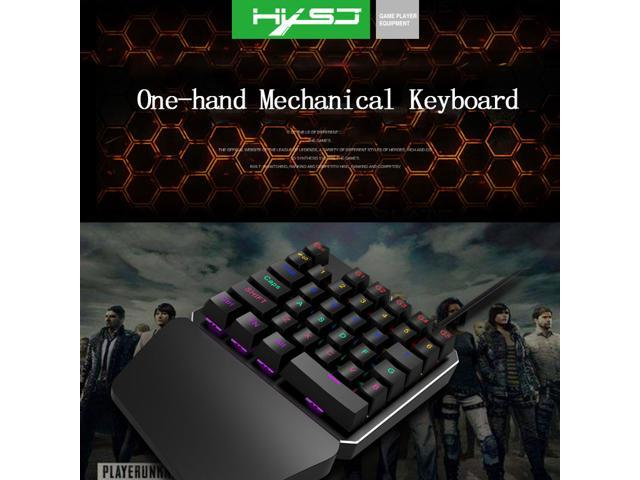 HXSJ J100 One-Handed Mechanical Keyboard 35 Keys Blue Switch Mini Gaming Keypad LED Backlight Wired USB Keyboard For Laptop