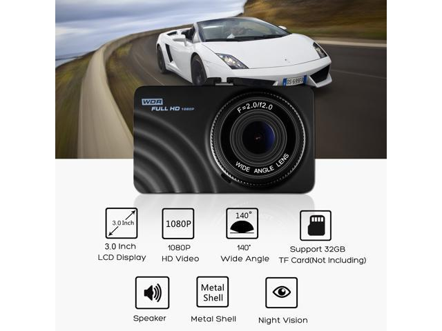OldShark 3 Inch Dash Cam Full HD 1080P 140 Degree Wide Angle Vehicle Recorder Support Night Vision Parking Guard Loop Recording WDR G-Sensor with 8GB SD Card