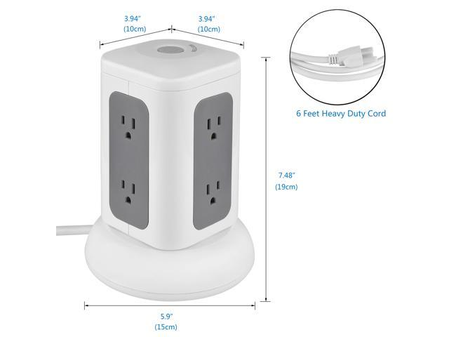 Bestten Multi-Functional Charging Station Tower: 6-Outlet Surge Protector with 4 USB Charging Ports (4.2A Total), Overload Protection, 6 Feet Cord