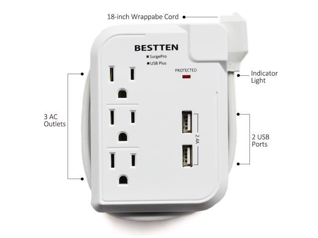 BESTTEN 3 Outlet Portable Power Strip Travel Mini Surge Protector (Max 125V) with 2.4A Dual USB Charging Ports, 18-Inch Cord, ETL Certified, White