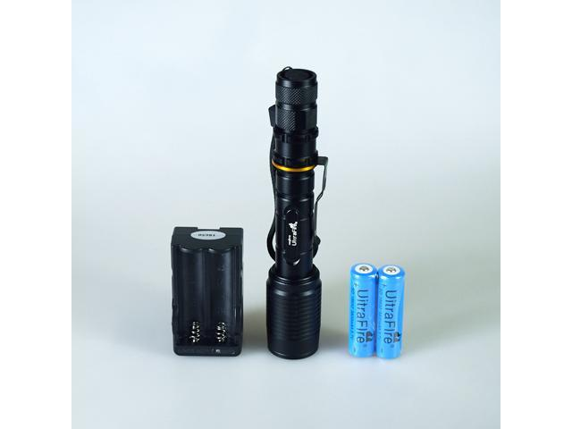 Super Bright CREE XM-L T6 LED Zoomable(Zoom in/Zoom out) Flashlight Torch Light + 2* Rechargeable 18650 Battery and Charger