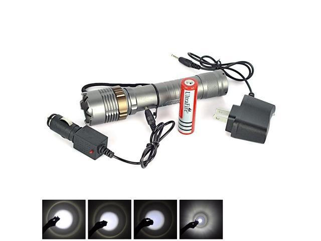 Briday Rechargeable Zoomable High light CREE XM-L T6 LED 5-modes Flashlight +18650 Rechargeable Battery + Flashlight Charger + Car Charger