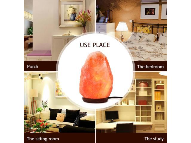 SMAGREHO Natural Himalayan Salt Lamp, Hand Carved Crystal Glow Rock Lamp,Includes Neem Wood Base / Bulb, UL Listed On and off function Dimmer Switch(7-8 inch, 5 - 8lbs)