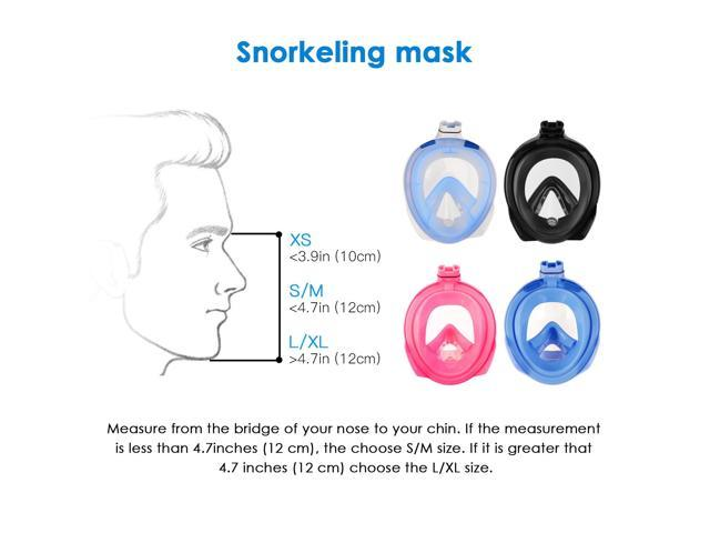 Vangogo 180° View Snorkel Mask Full Face Easybreath Gopro Compatible with Anti-fog and Anti-leak Technology for Adult