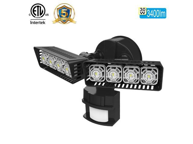 SANSI LED Security Light, 30W, 250W Equivalent, 3400lm, 5000K Daylight, Waterproof, Motion Sensor Outdoor Light, Floodlight, Wall Light, Ceramic Heat Dissipation, Rectangular, Black