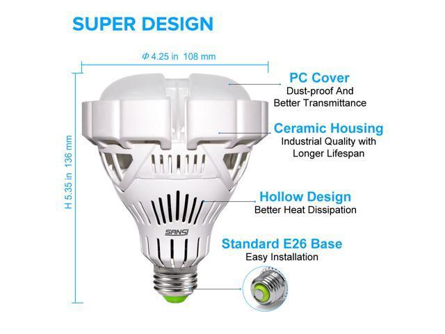 SANSI BR30 35W (300W Equivalent) LED Floodlight Bay Light Bulb, 4000lm, 5000K Daylight, CRI 80+, E26 Medium Screw Base Garage Basement Factory Warehouse Barn Sport Hall Security Task Lighting