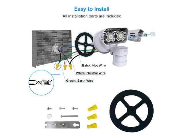 SANSI LED Security Lights, 18W (150Watt Incandescent Equiv.) Motion Sensor Lights, 1800lm 5000K Daylight Waterproof Outdoor Floodlights with Adjustable Dual-head, White