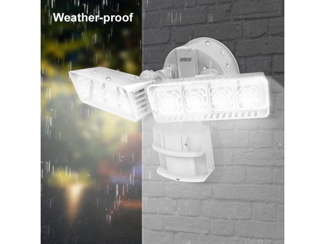SANSI LED Security Light, 30W, 250W  Equivalent, 3400lm, 5000K Daylight, Waterproof, Motion Sensor Outdoor Light, Floodlight, Wall Light, Ceramic Heat Dissipation, Rectangular, White