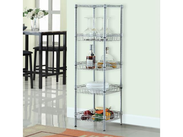 LANGRIA 5-Tier Wire Shelving Unit with Baskets Free-Standing Storage ...