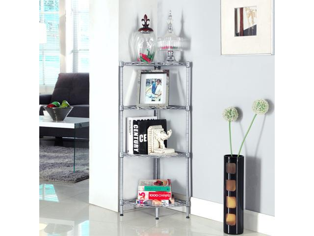 langria 4tier wire corner shelving unit storage shelves shelf rack for living