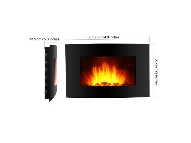 Finether 1500W Adjustable Wall Mounted Electric Fireplace Heater - 3D Patented Flame, 7 Color Changeable LED Backlight with Remote Controller - Black