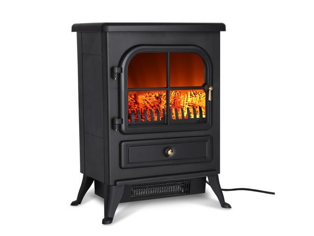 Finether 1500W Freestanding Electric Fireplace Stove Heater with Openable Door - Black