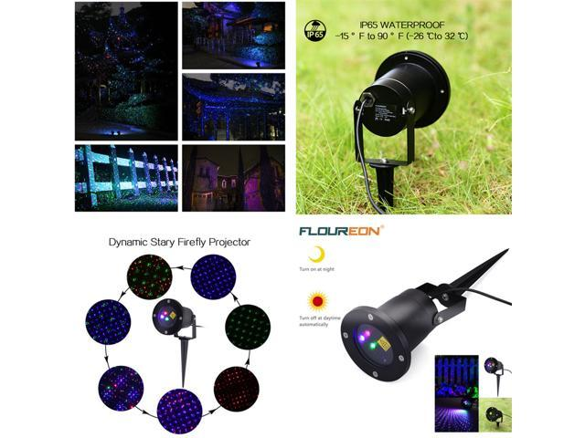Floureon RGB Dynamic Firefly Laser Projector Light with Light Sensor for Christmas Garden Landscape