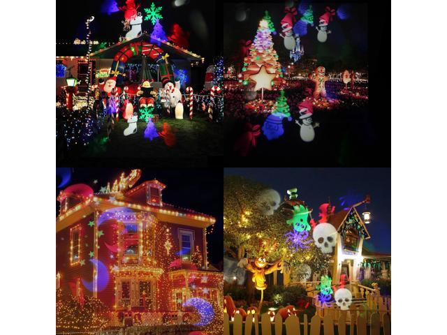 Lampwin Rotating Projector Light Landscape Lighting Indoor Outdoor with 20Pcs Pattern for Christmas Halloween Garden Party