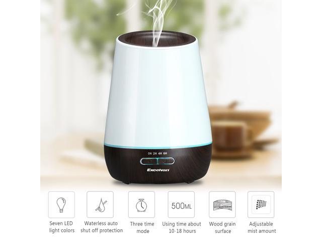 Excelvan Ultrasonic Aroma Diffuser Humidifier Air Mist Aromatherapy Purifier, Dark Woodgrain