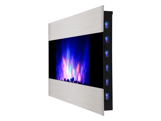Finether 1500W Adjustable Stainless Steel Wall Mounted Electric Fireplace Heater with Remote Control, Black