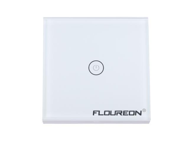Floureon Wireless Smart Touch Screen Light Switch 1 Gang 1 Way with Tempered Glass Panel, White