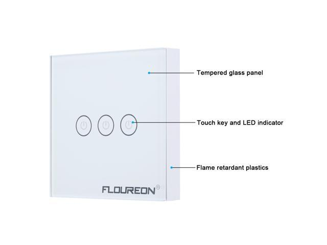 Floureon Wireless Remote Control Smart Touch Screen Light Switch 3 Gang 1 Way with Tempered Glass Panel, White