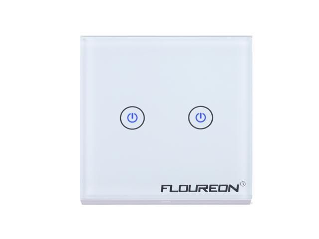 Floureon Wireless Remote Control Smart Touch Screen Light Switch 2 Gang 1 Way with Tempered Glass Panel, White