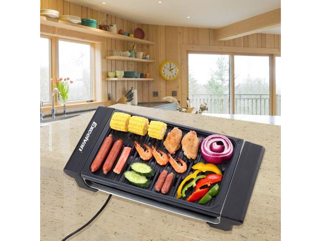 Excelvan Indoor Home BBQ Electric Classic Plate Barbecue Grill Adjustable Temperature Easy Clean, 1120W, Black, 20 x 9 x 4 Inch