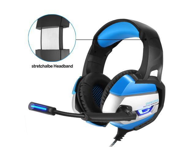 ONIKUMA K5 Stereo Gaming Headset Bass Surround for PS4, PC, Xbox One Controller Over Ear Headphones with Mic, LED Light