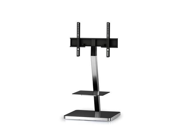 "Sonorous PL-2710 Modern TV Floor Stand Mount / Bracket with Tempered Glass Shelf For Sizes up to 60"" (Aluminum Construction)"