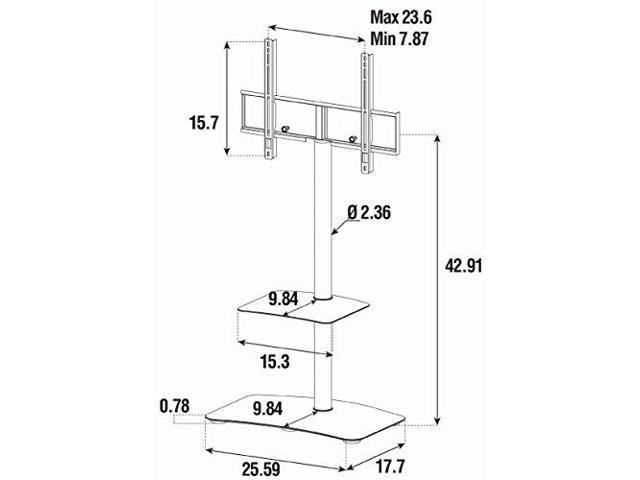 "Sonorous PL-2810 Modern TV Floor Stand Mount / Bracket with Tempered Glass Shelf For Sizes up to 60"" (Steel Construction) - Black"